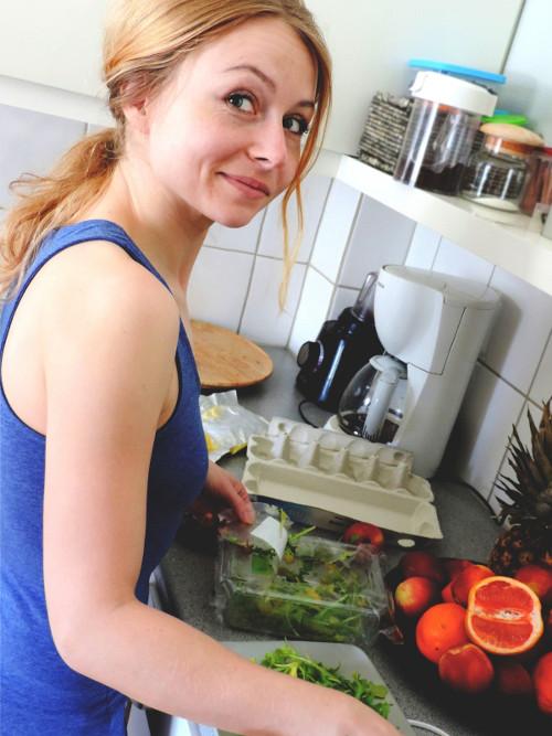 Woman in Kitchen Preparing Vegan Meal