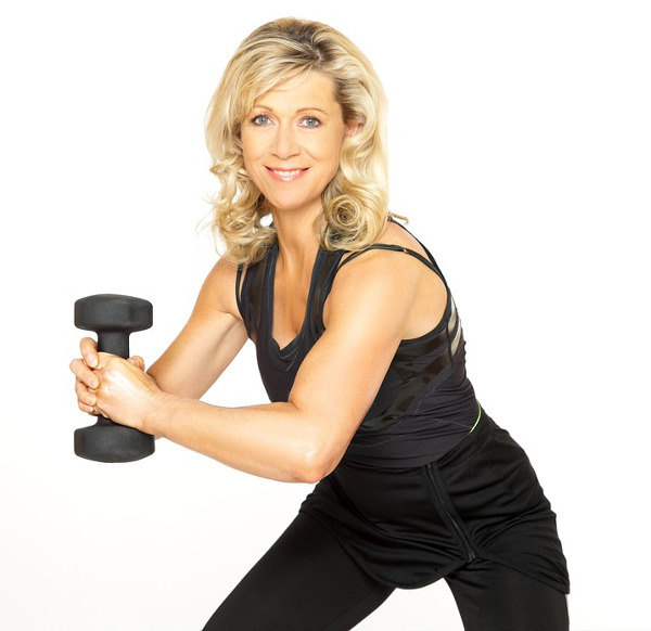 Blond Women Holding Dumbbell